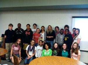 Amy with 8th grade students.