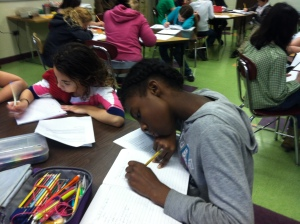 Sixth graders working on Lyn's writing activity.
