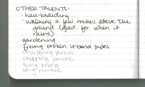 A page from Lisa's brainstorming notebook.